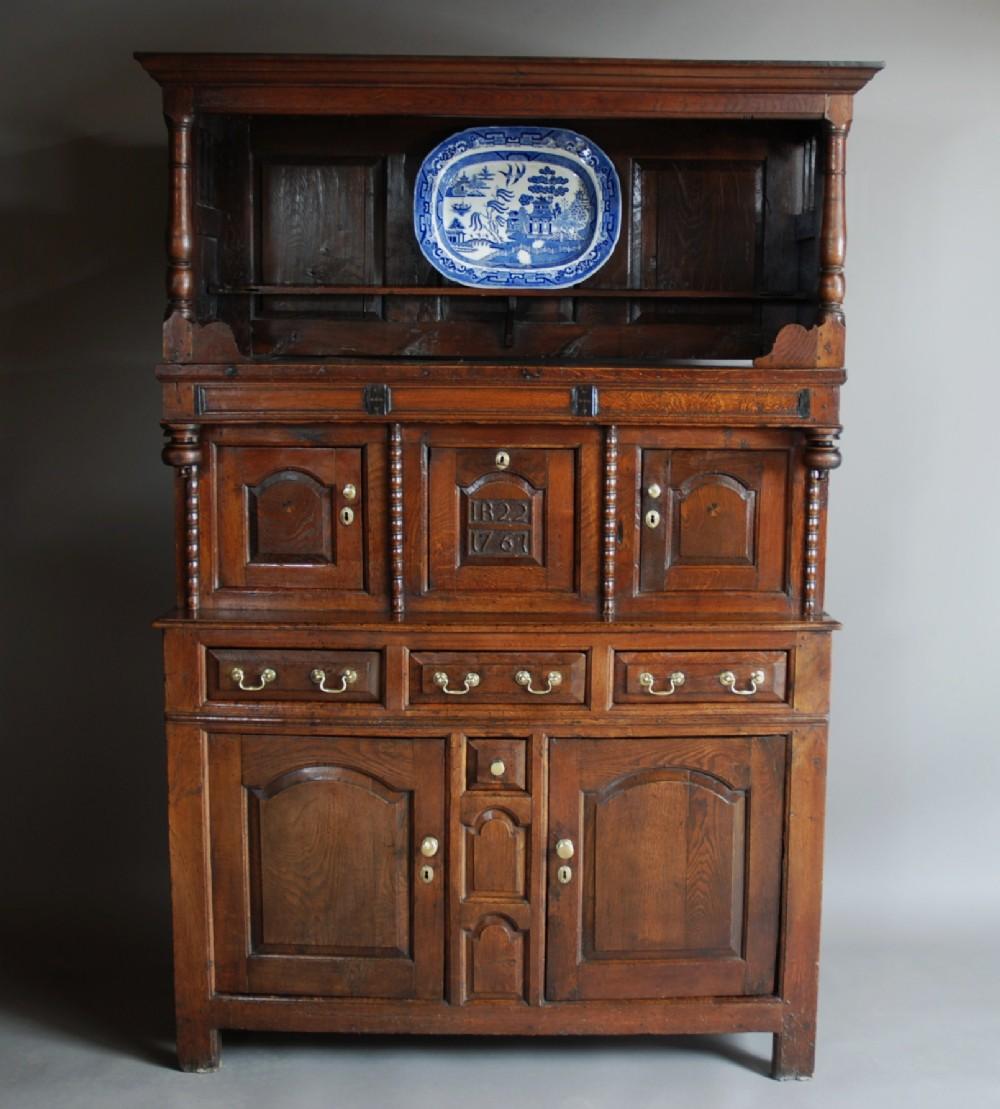 mid 18th century welsh oak cwpwrdd tridarn of superb patina