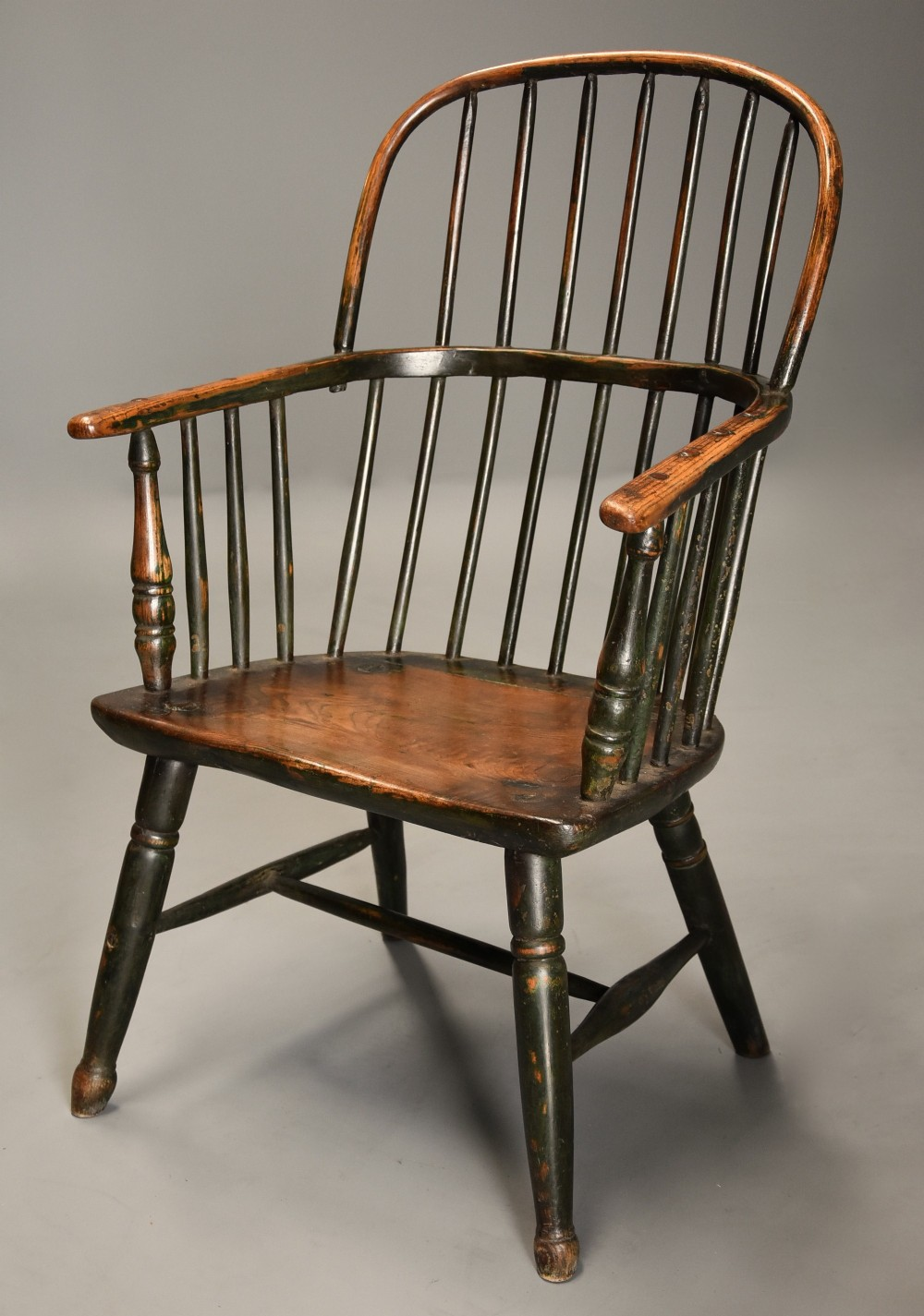 superb early 19thc west country ash elm hoop back windsor chair with original green paint finish