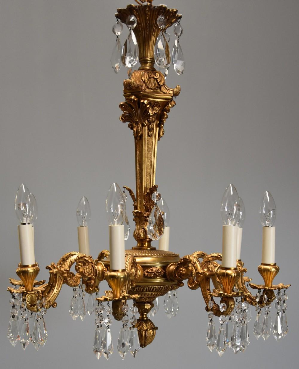 fine quality french eight branch ormolu cut glass chandelier