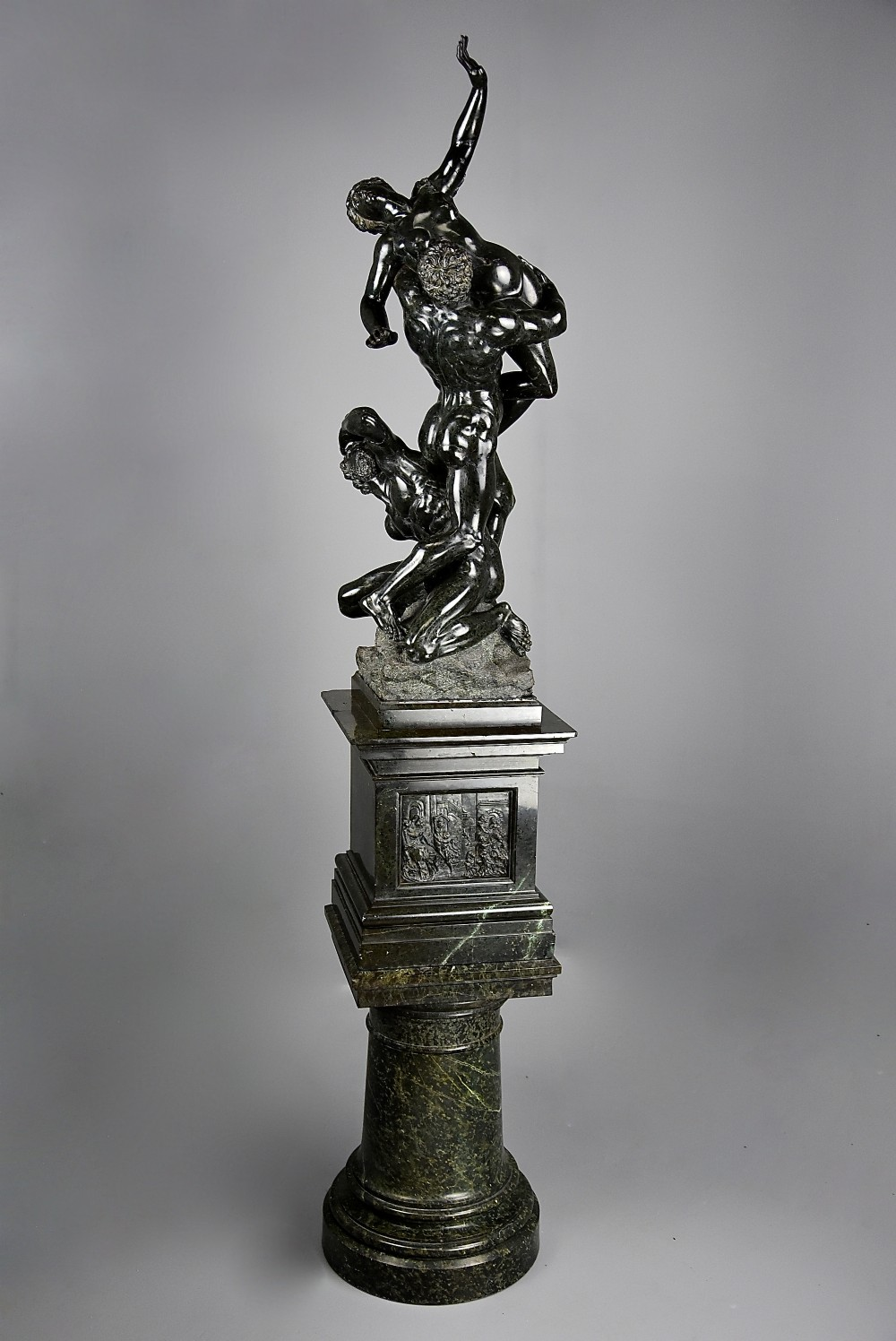 large 19thc italian grand tour verde prato sculpture of the abduction of the sabine women after the original by giambologna