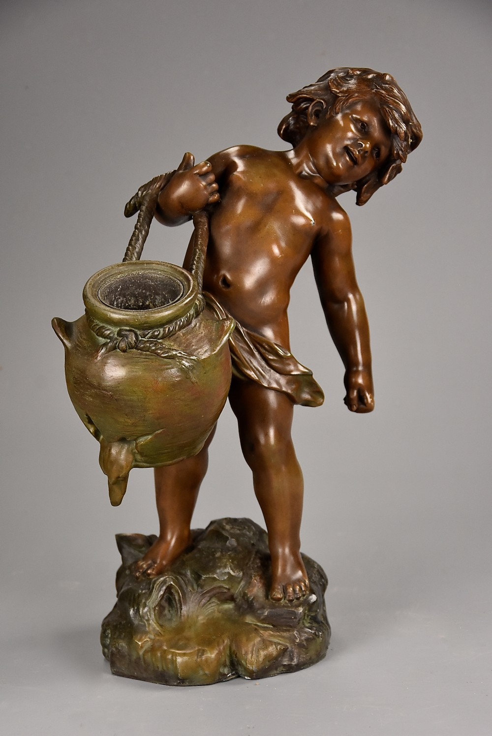 late 19th century french spelter figure of young male water carrier signed auguste moreau 18341917