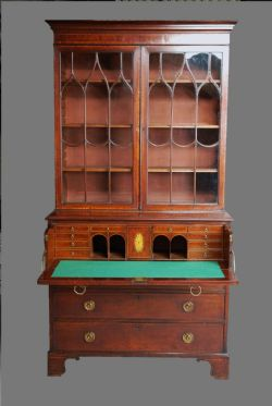 LVS Decorative Arts · GOTHIC STYLE MAHOGANY CABINET BOOKCASE