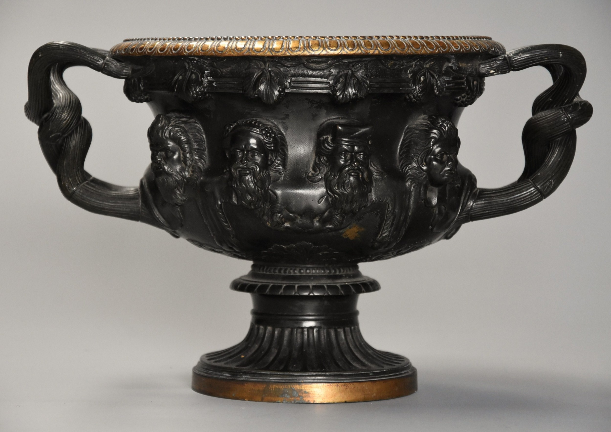 good quality 19th century grand tour bronze reduction of 'the warwick vase' after the antique