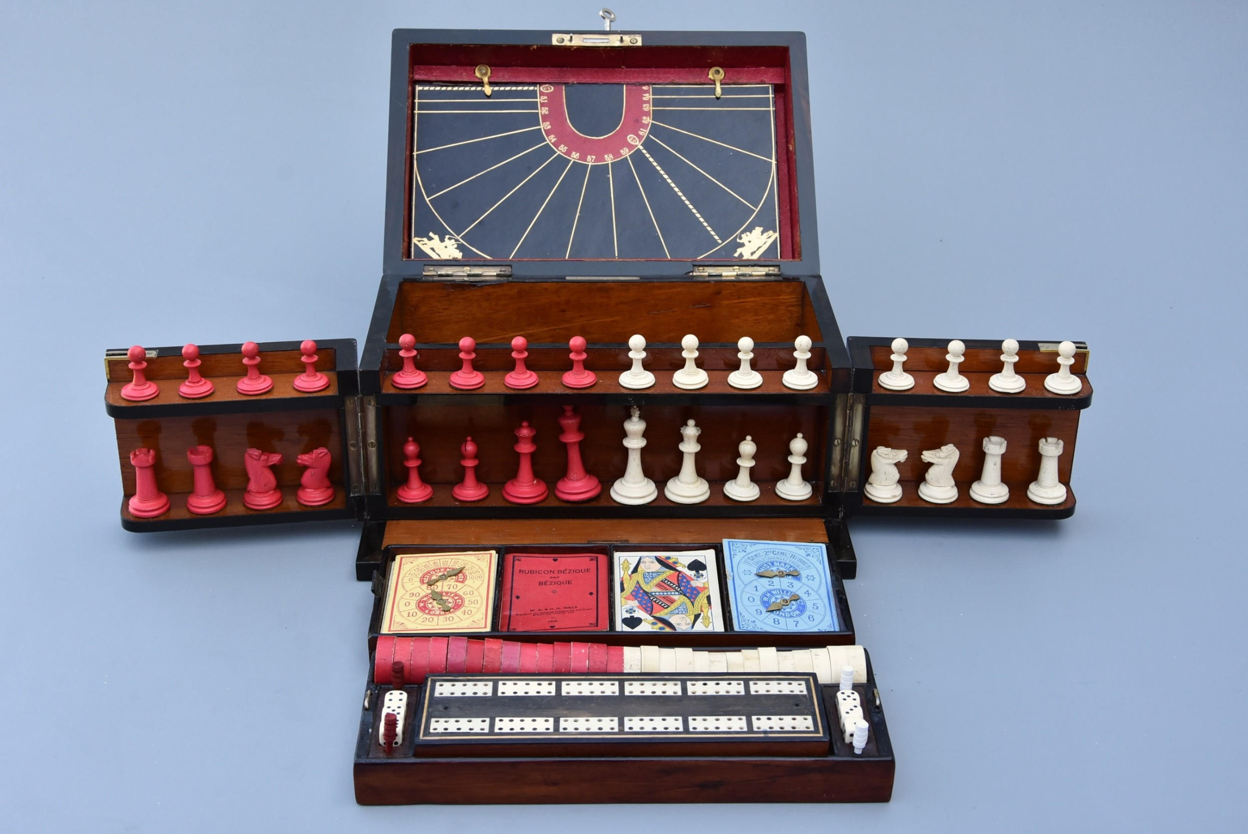 late 19th century coromandel fitted games compendium by 'leuchars son 38 39 piccadilly london'