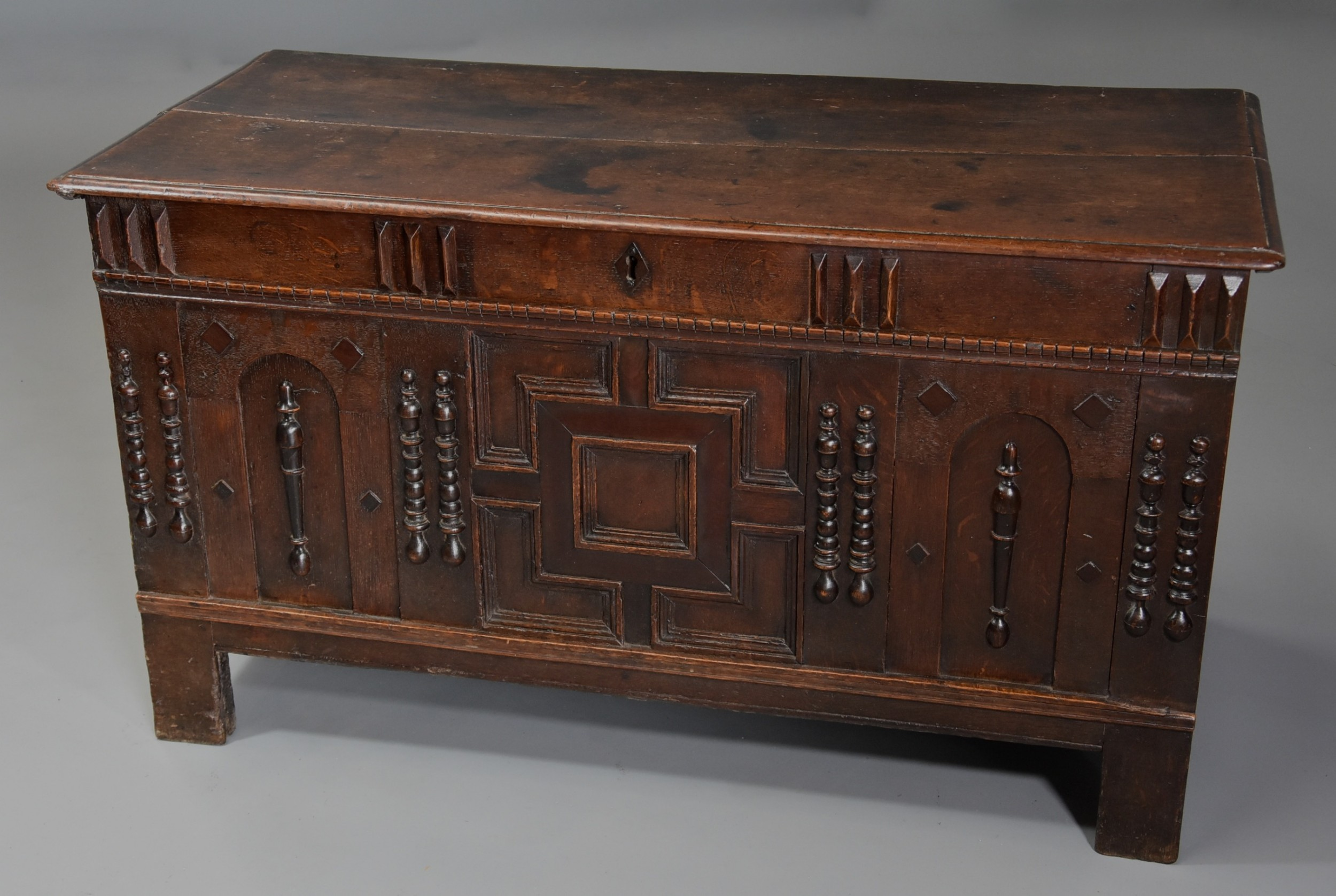 rare midlate 17th century oak moulded front coffer with fine patina