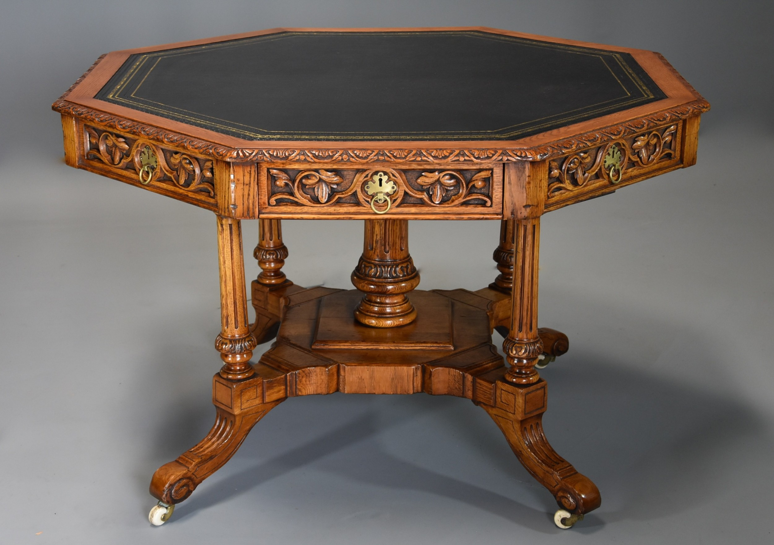 midlate 19th century oak octagonal library table by th filmer sons oxford st london