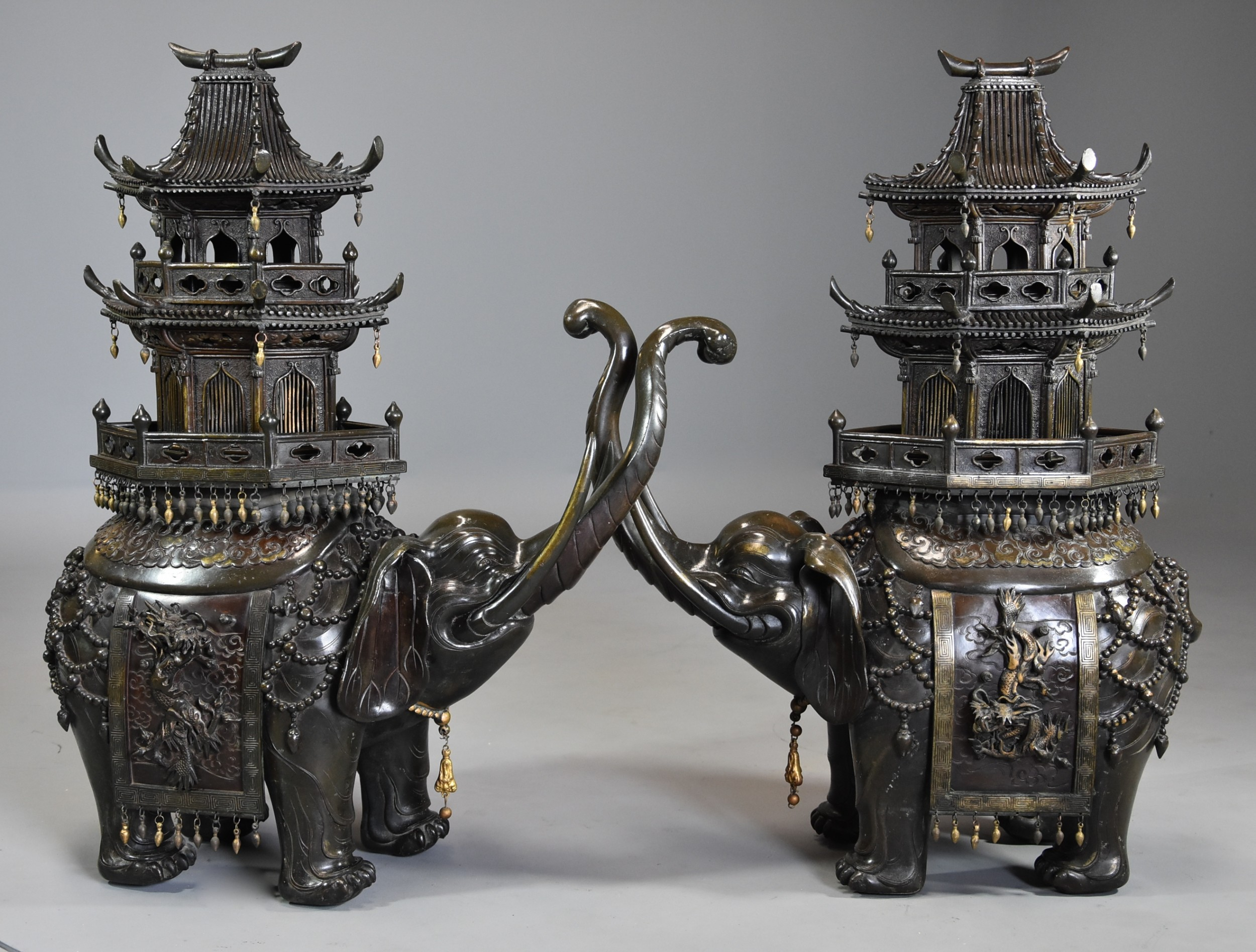 pair of large fine quality late 19thc japanese meiji bronze elephant incense burners or koro