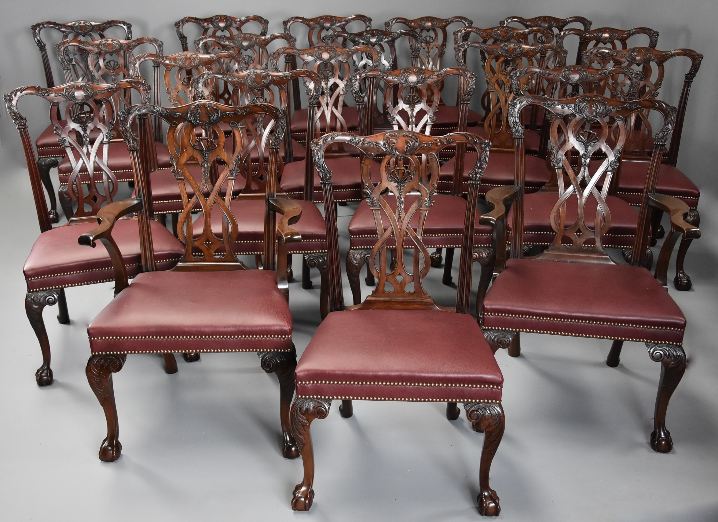 superb quality large set of twenty one late 19thc chippendale style mahogany dining chairs of excellent patina