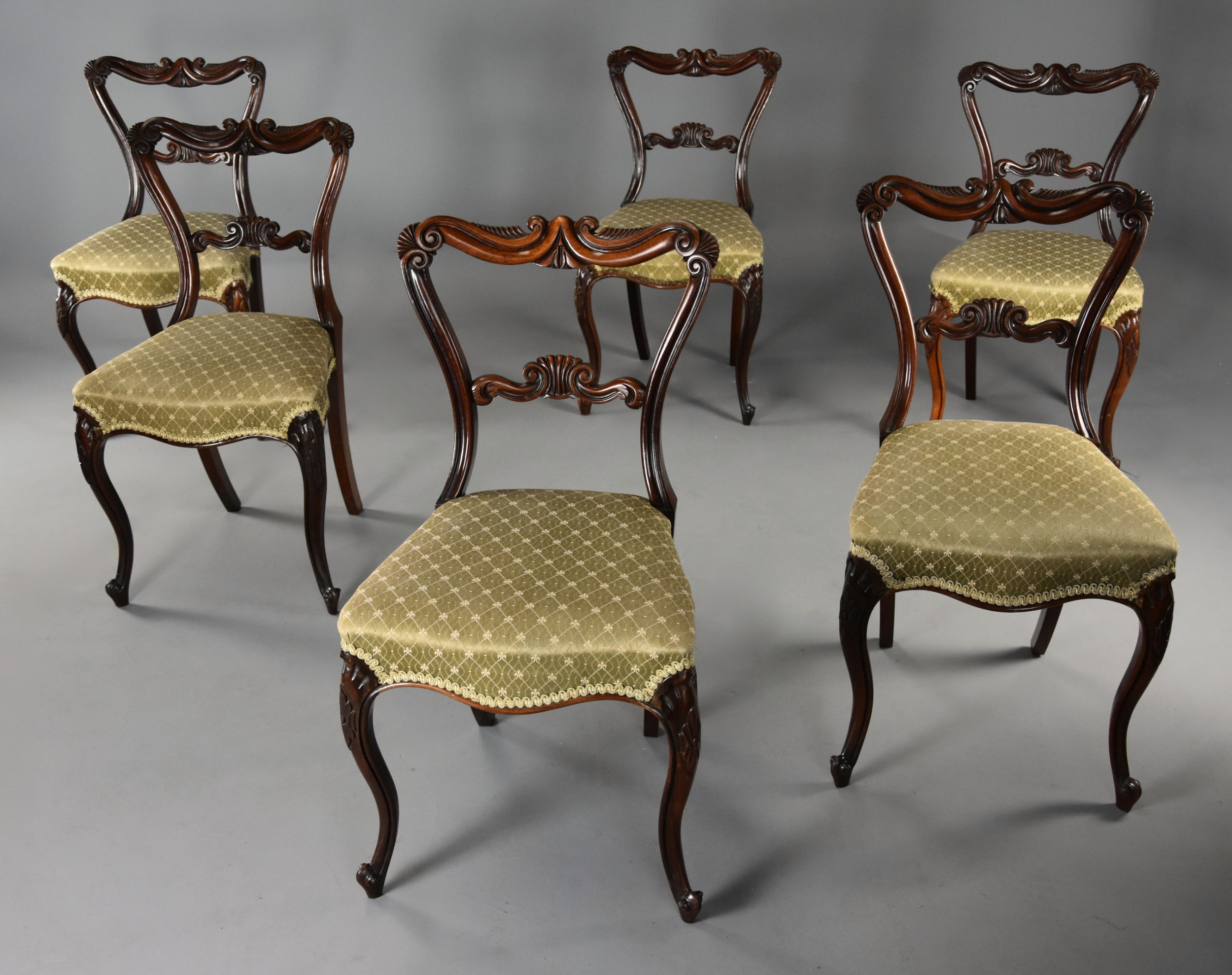fine quality earlymid 19th century set of six rosewood dining chairs in the manner of gillows