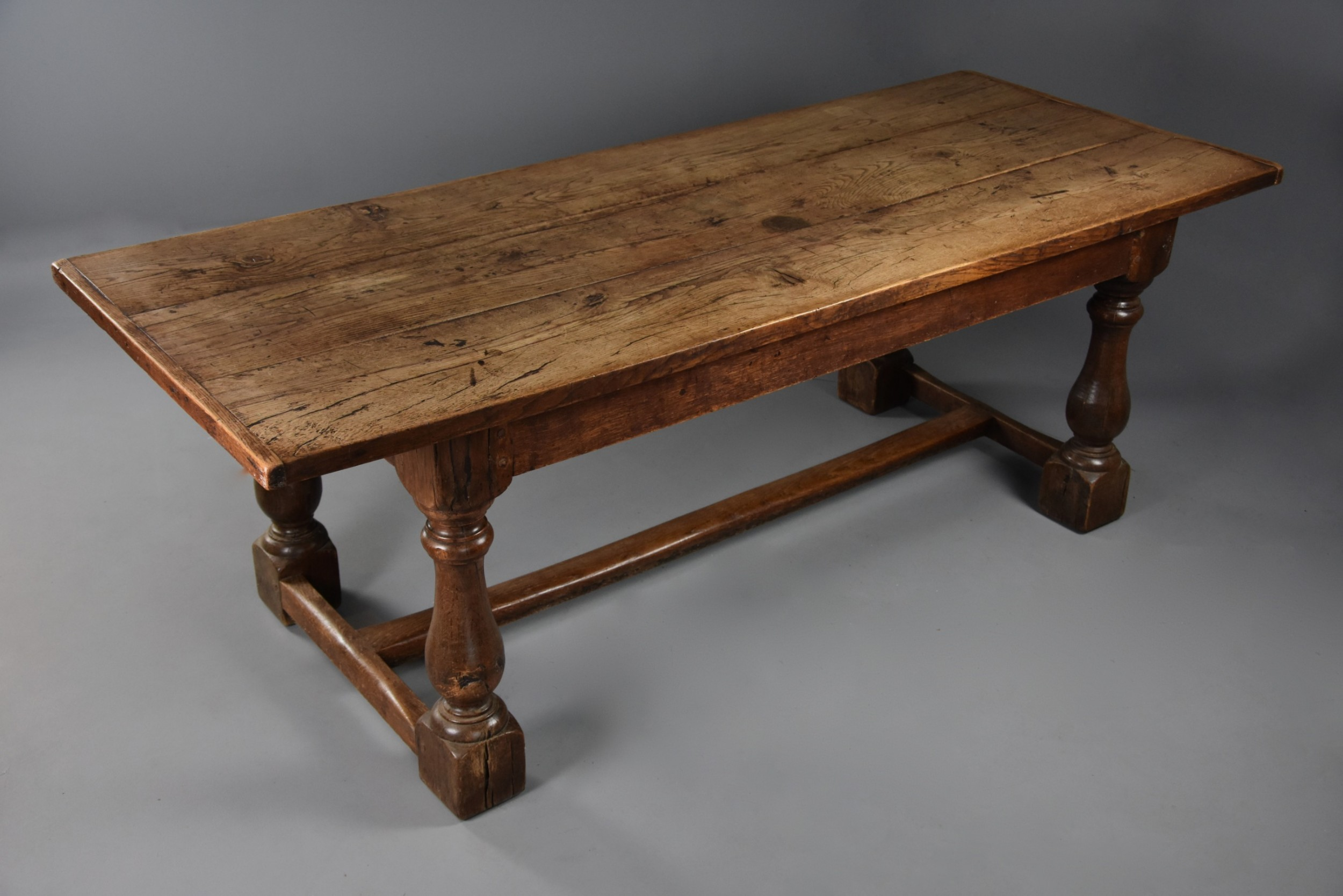 a late 19th century arts crafts oak refectory table with superb faded patina