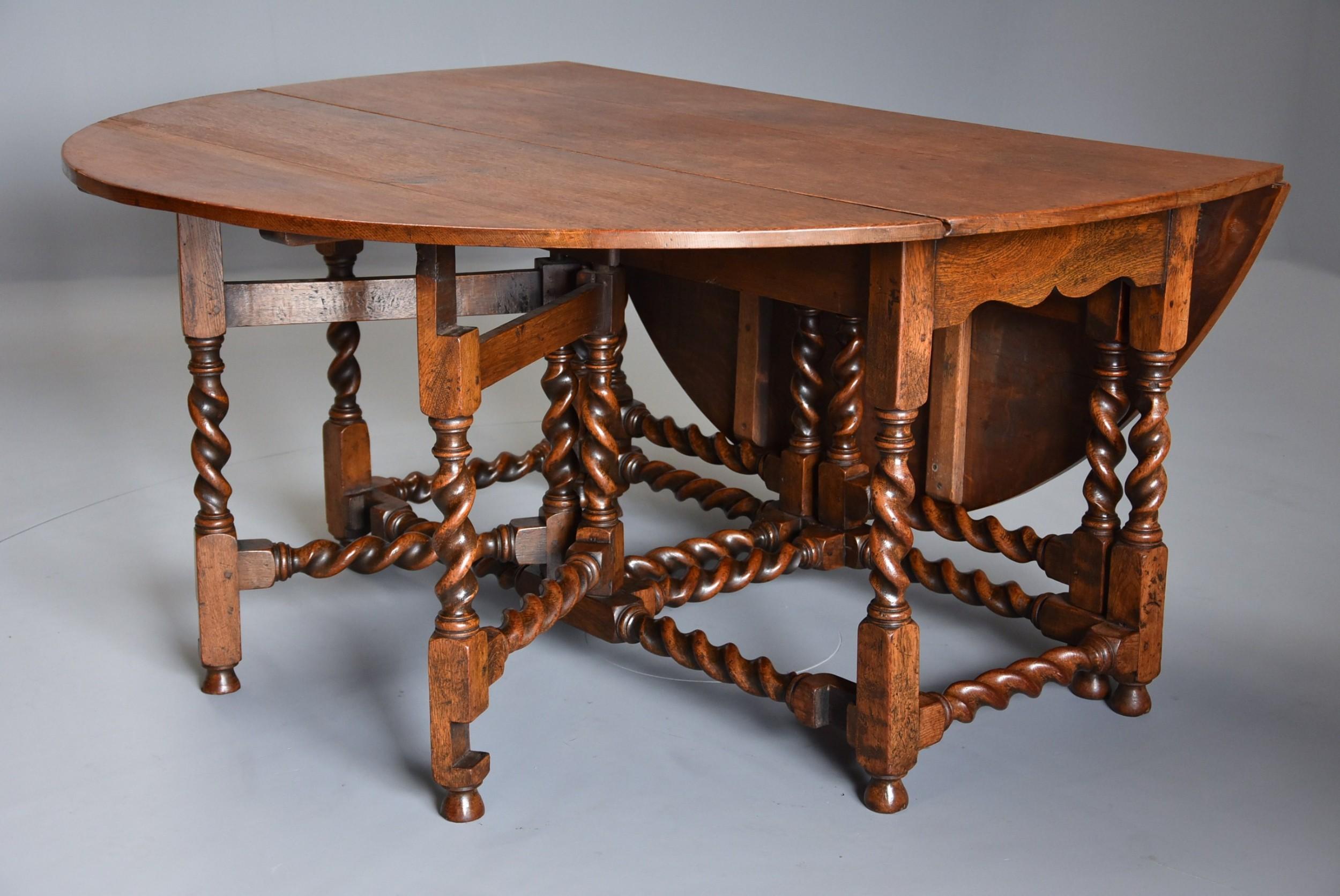 large late 19th century oak double gate gateleg dining table