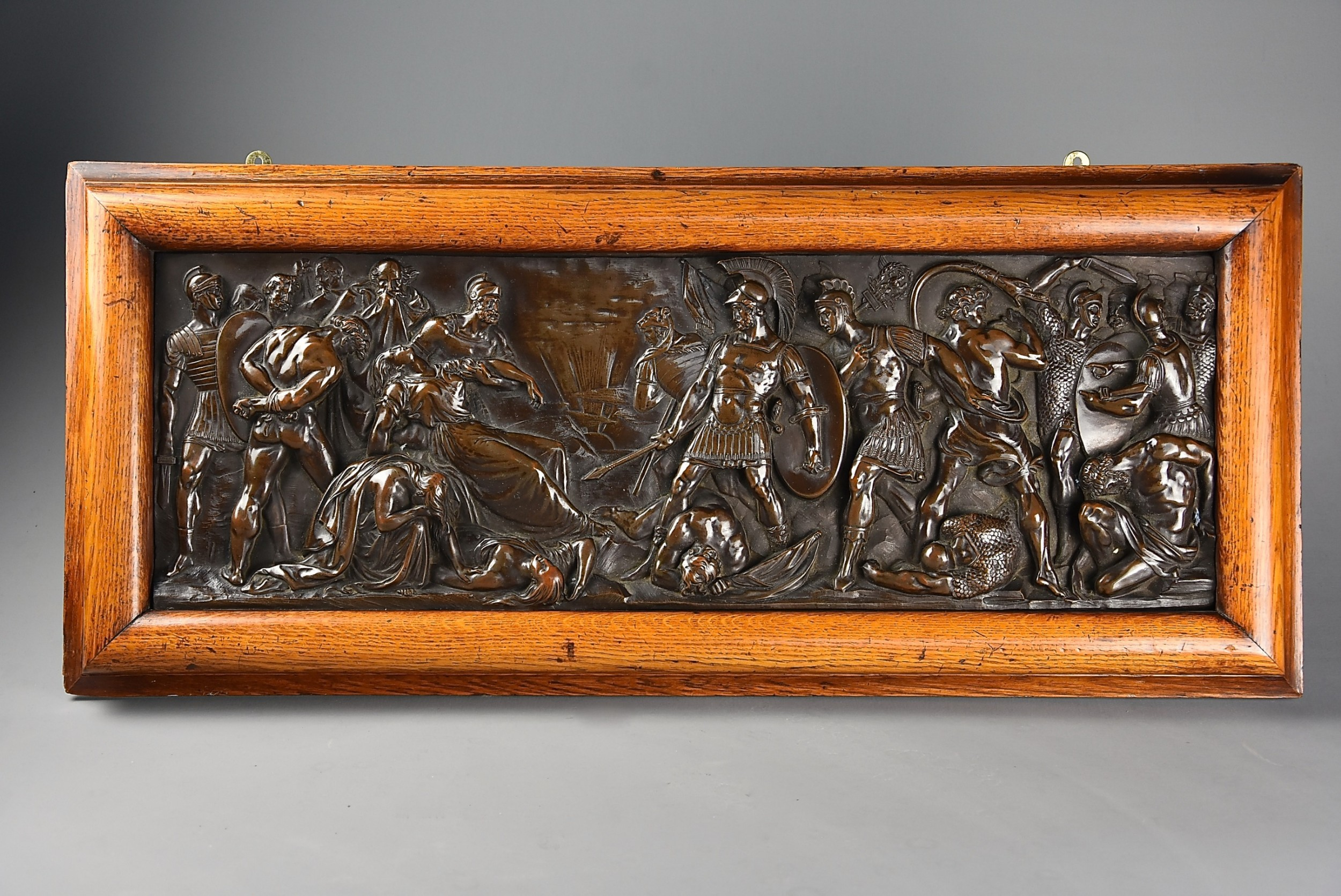 late 19th century fine quality framed bronzed plaque of a classical battle scene with elkington makers mark
