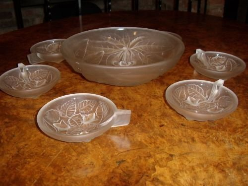 art glass punch bowl set with 6 samplers by gvallon of france 1920