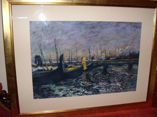 pastel painting of venice under moonlight 27 x 35 inches remounted new gilt frame