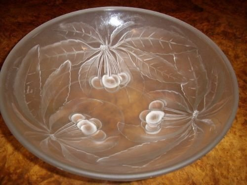 art glass punch bowl set with 6 samplers by gvallon of france 1920 - photo angle #3