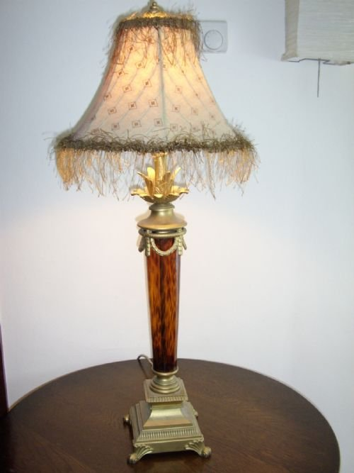 Art Deco Style Table Lamp With Amber Glass Stem Cast Metal