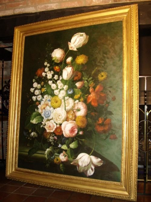 Huge Flower Still Life Oil Painting By Sought After Artist