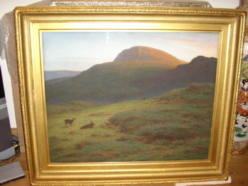 pastel gouache landscape painting deer exmoor dartmouth by artist jknight 62 x 52 inches