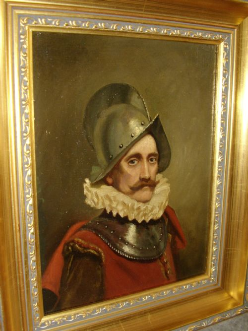 oil portrait painting of a swiss guard soldier in armour wearing 16th century dress 1725 x 145 inches - photo angle #2