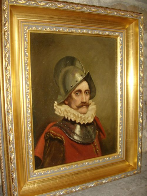 oil portrait painting of a swiss guard soldier in armour wearing 16th century dress 1725 x 145 inches - photo angle #9