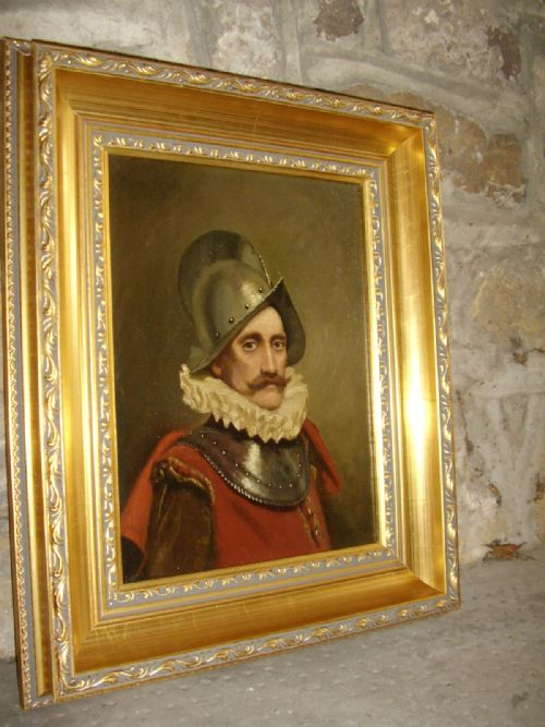 oil portrait painting of a swiss guard soldier in armour wearing 16th century dress 1725 x 145 inches - photo angle #10