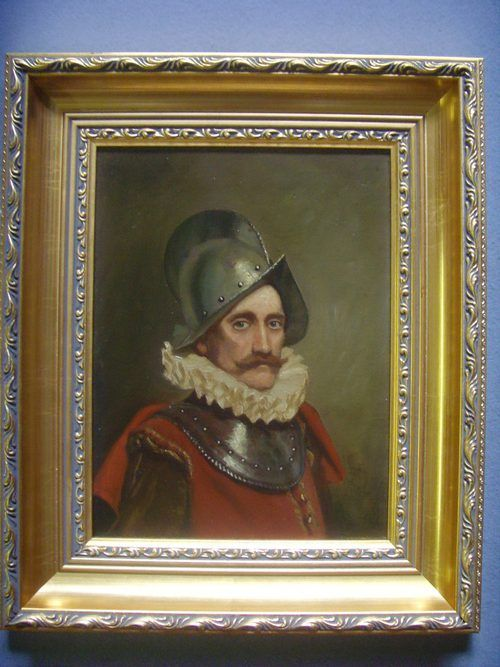 oil portrait painting of a swiss guard soldier in armour wearing 16th century dress 1725 x 145 inches - photo angle #12