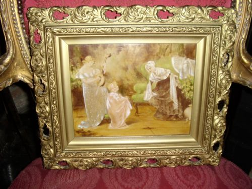 19th century victorian genre oil painting of mother plating a mandolin to her daughter friends being presented in the original wooden plaster gilt pierced frame 1325 x 155 inches