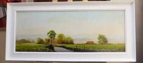 landscape oil painting of sussex countryside by listed artist michael morris 42 x 19 inches