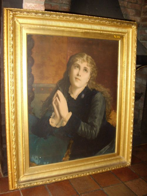 victorian religious oileograph portrait of angelic young lady after original oil painting
