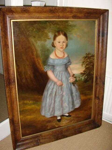 18thc large georgian oil portrait of young girl 1760 english school