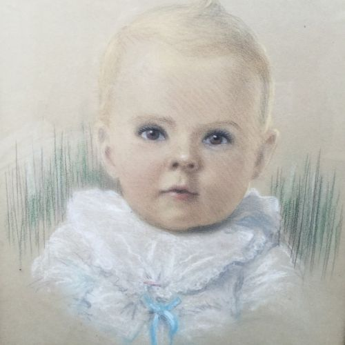 fine pastel gouache portrait painting of baby boy