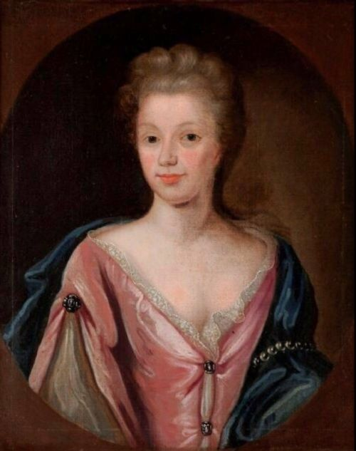 circle of michael dahl 16591743 large oil portrait 18thc painting of a lady
