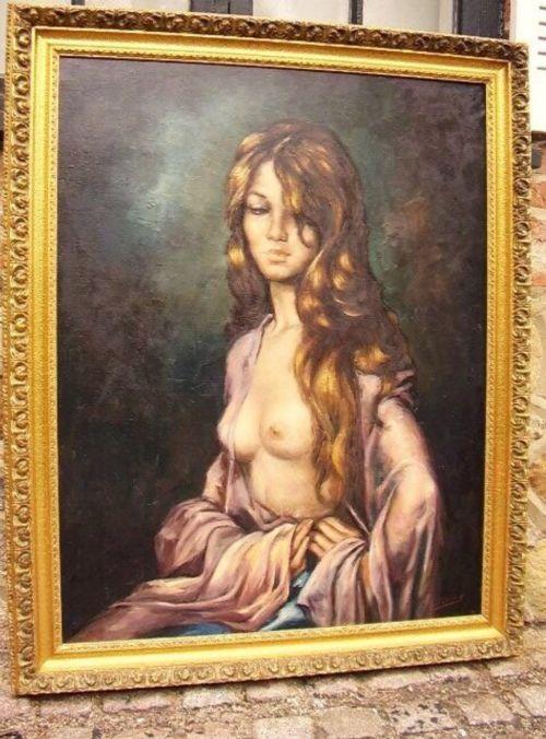 nude filipino lady oil portrait painting moonlight pose signed jluna