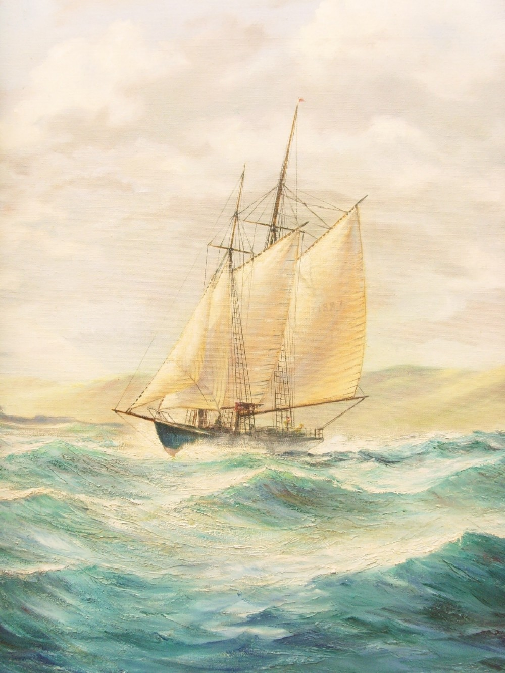 large marine seascape stmichaels mount penzance cornwall by artist kenneth carter oil paintings on canvas sailing ships antique art naval coastal pictures choppy seas waves gilt frames