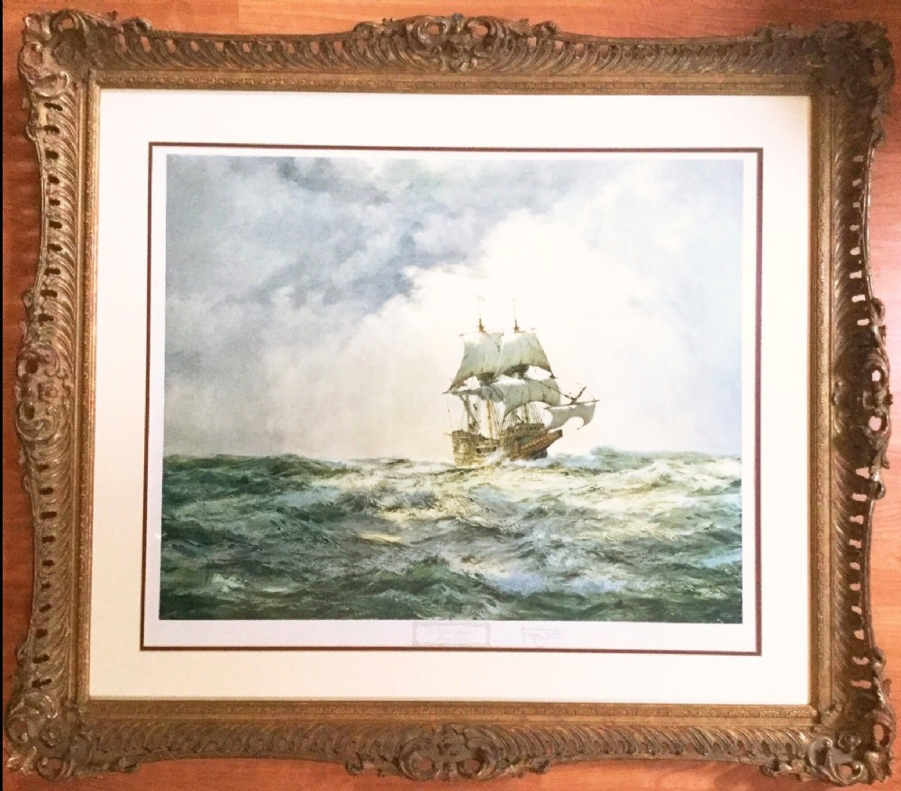 montague dawson signed lithograph of the mayflower 1300 proof blind stamped after original watercolour marine painting