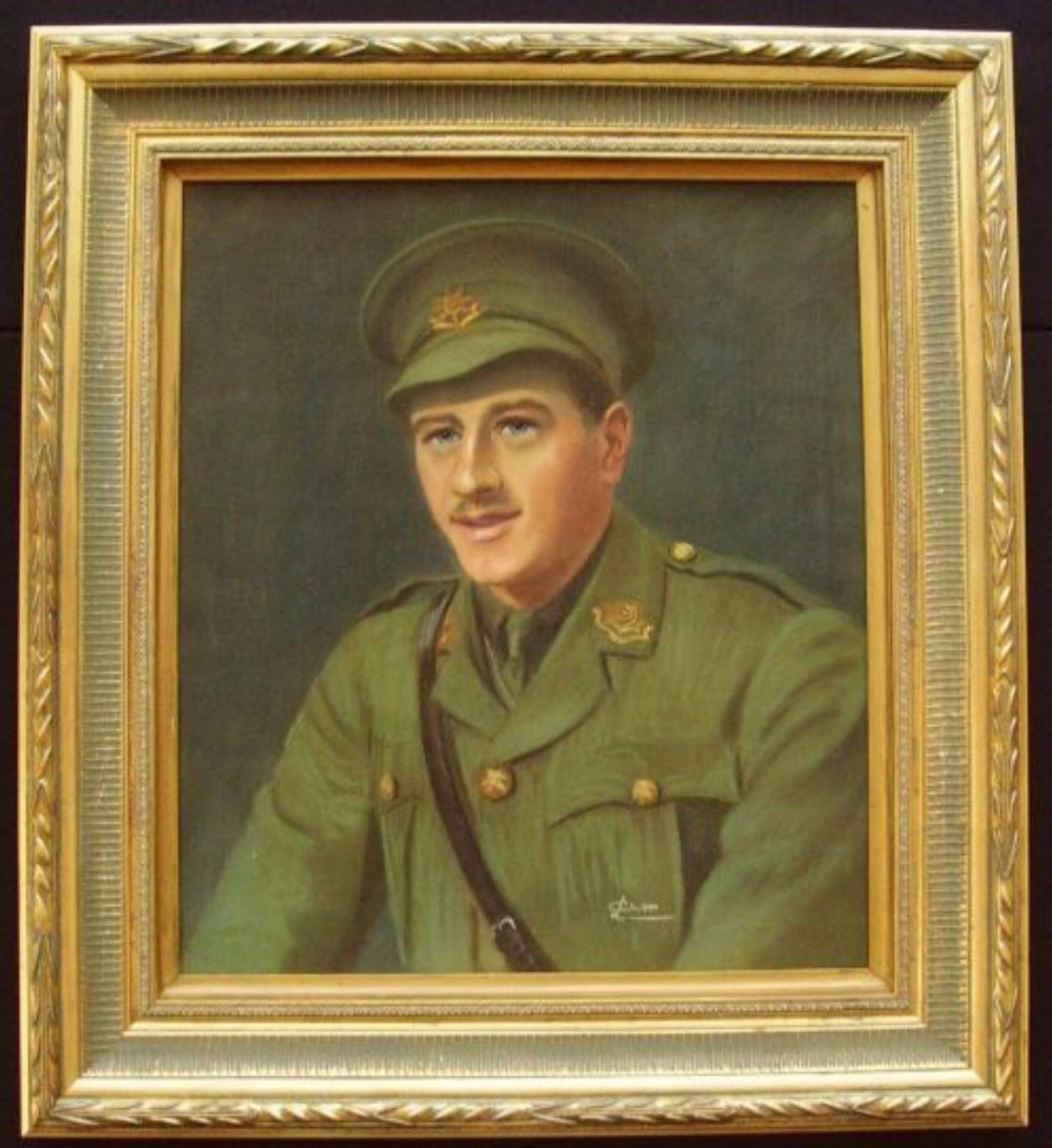 lieutenant bryan barton cubitt 18921915 british army officer east yorkshire regiment ww1 oil portrait painting