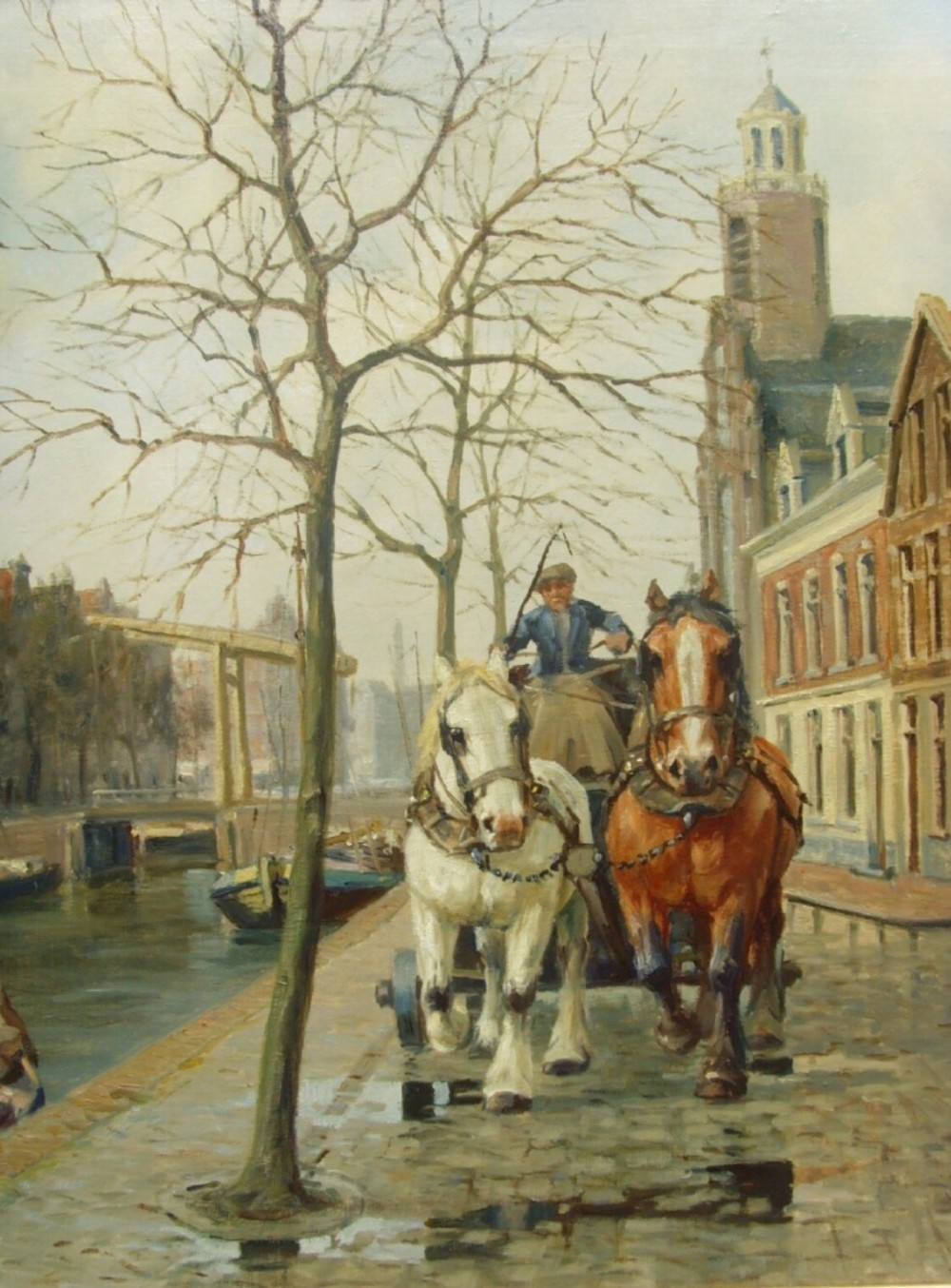 oil painting of amsterdam canal street scene cart horses galloping by henk welters 18851947