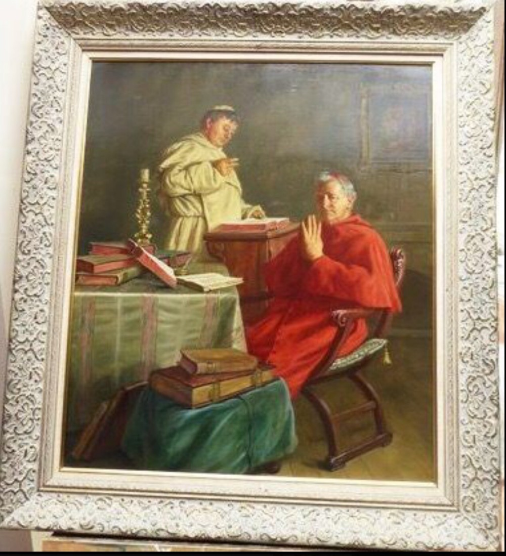 oil portrait painting vatican cardinal by artist ernst stierhof religious antique art