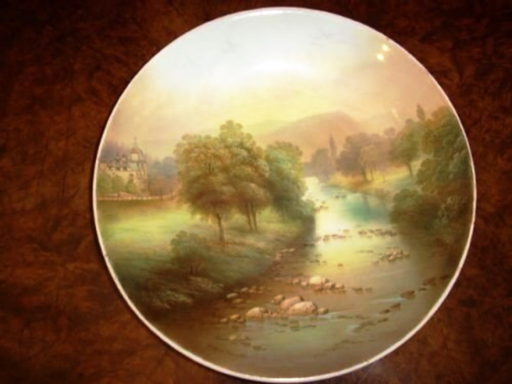 fmicklewright hand painted plate depicting view ponty pair bettwsycoed c18901900
