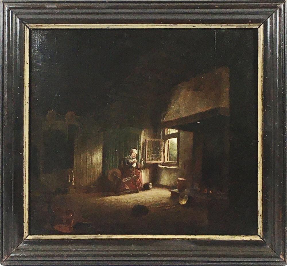 18thc dutch oil on oak panel old lady spinner manner of quirijn van brekelenkamp interior scene portrait painting