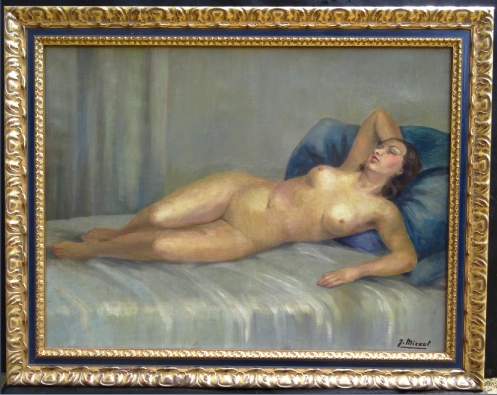art deco oil portrait painting nude lady lying on bed signed