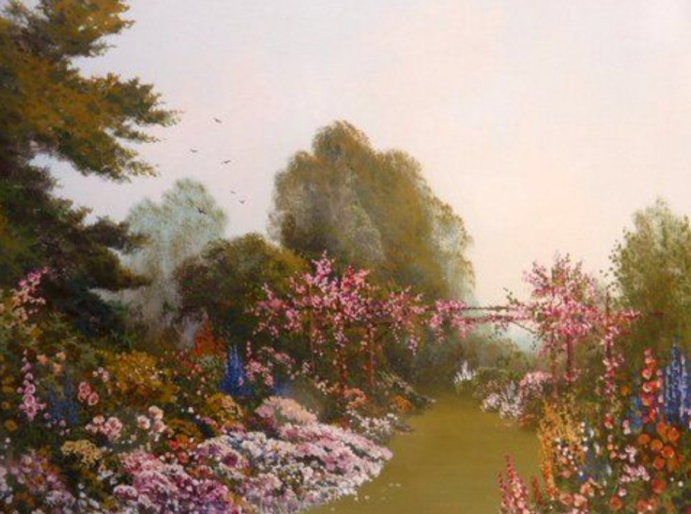 watercolour painting by reginald daniel sherrin flowers in a country garden
