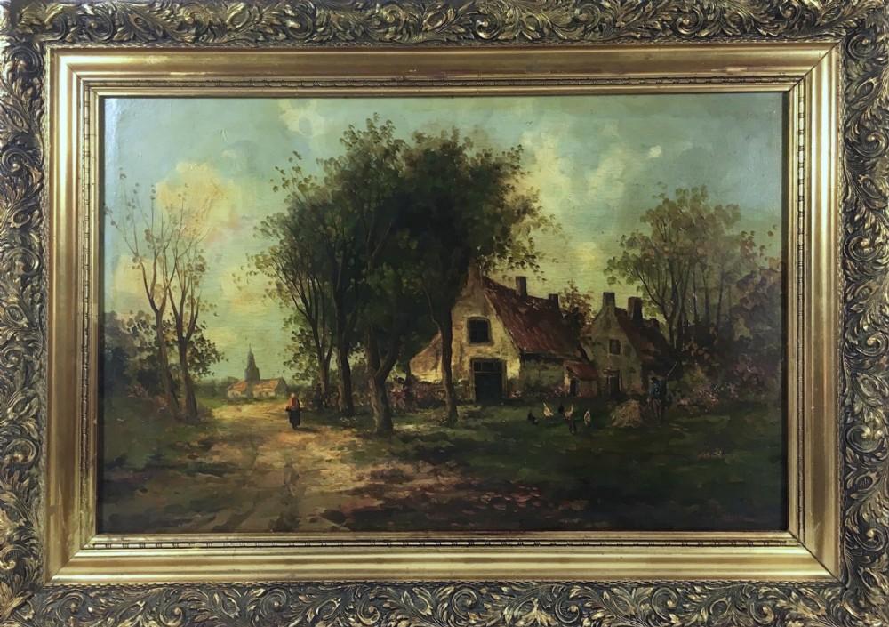 barbizon school french rural farmyard scene 19th century landscape oil painting on panel