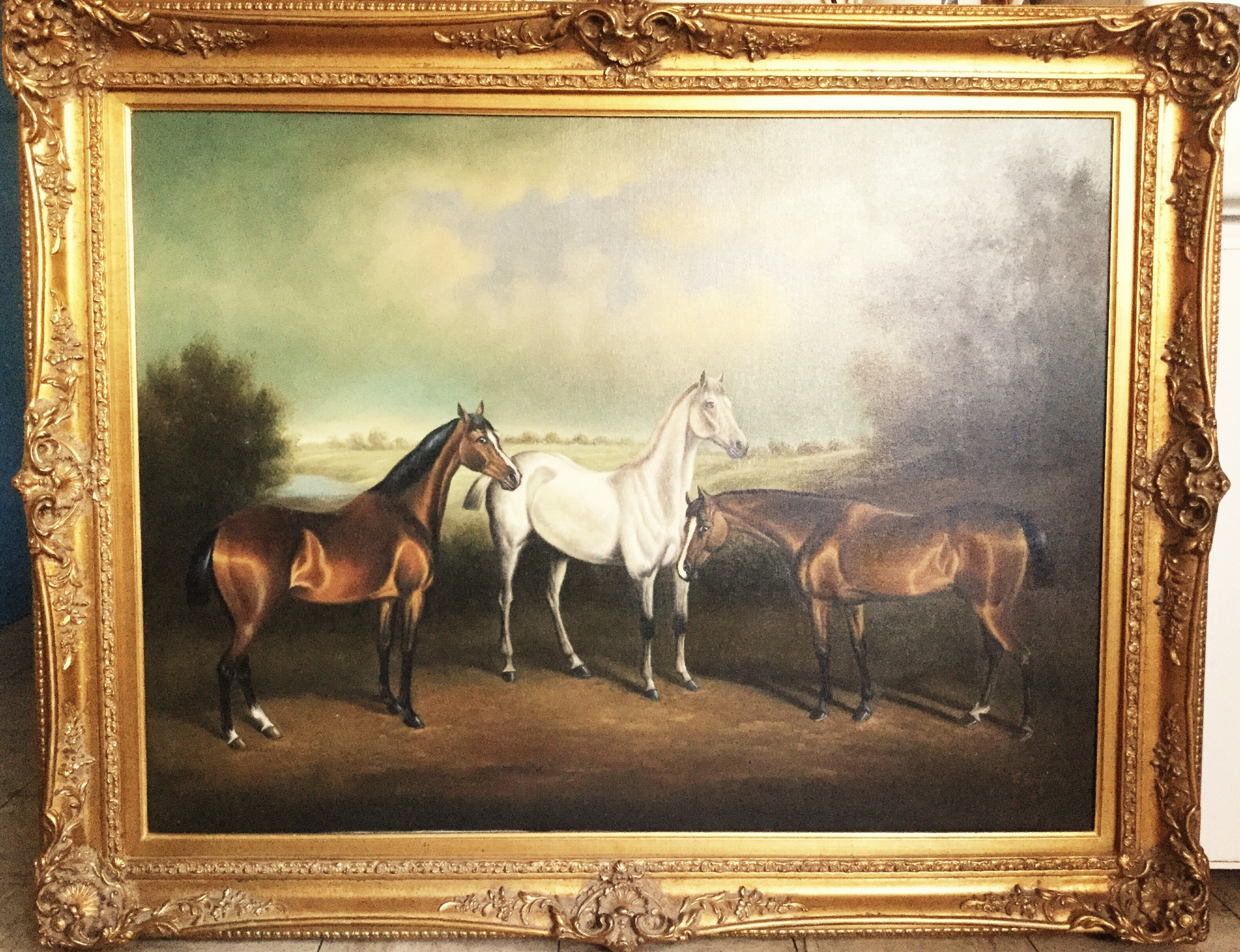 Fine Antique Art Large Oil Painting On Canvas Of Horses In