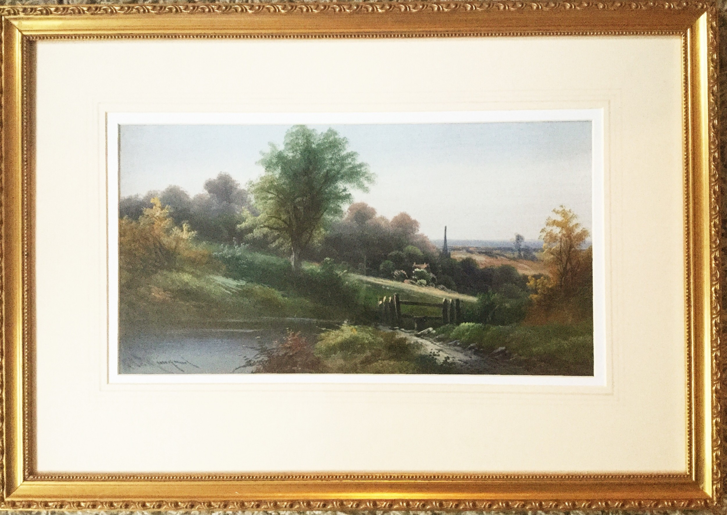 fine antique art english countryside landscape acrylic oil painting on board under glass countryside pictures in gilt frames