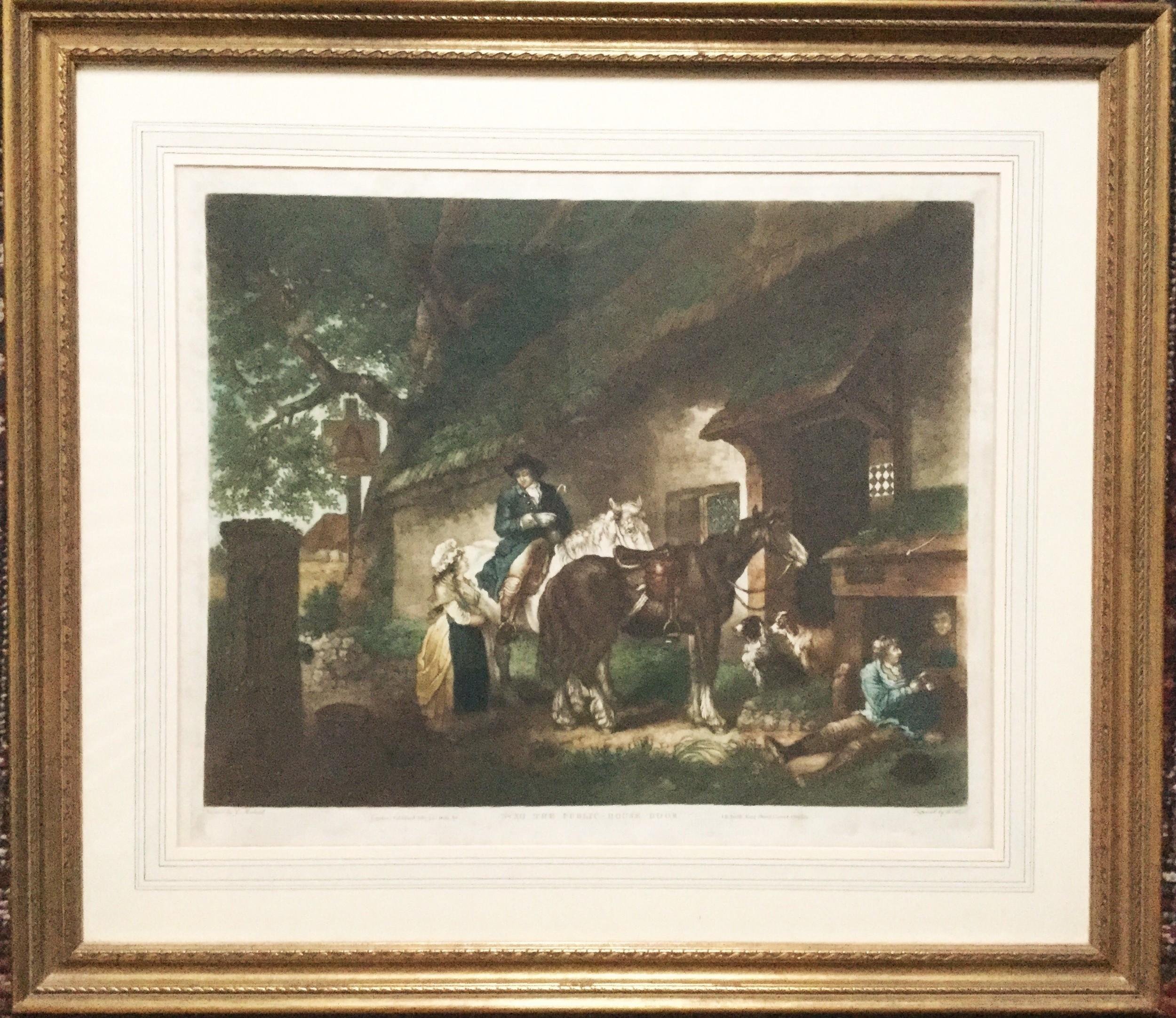 george morland the public house door mezzotint engraved by wward printed in colours