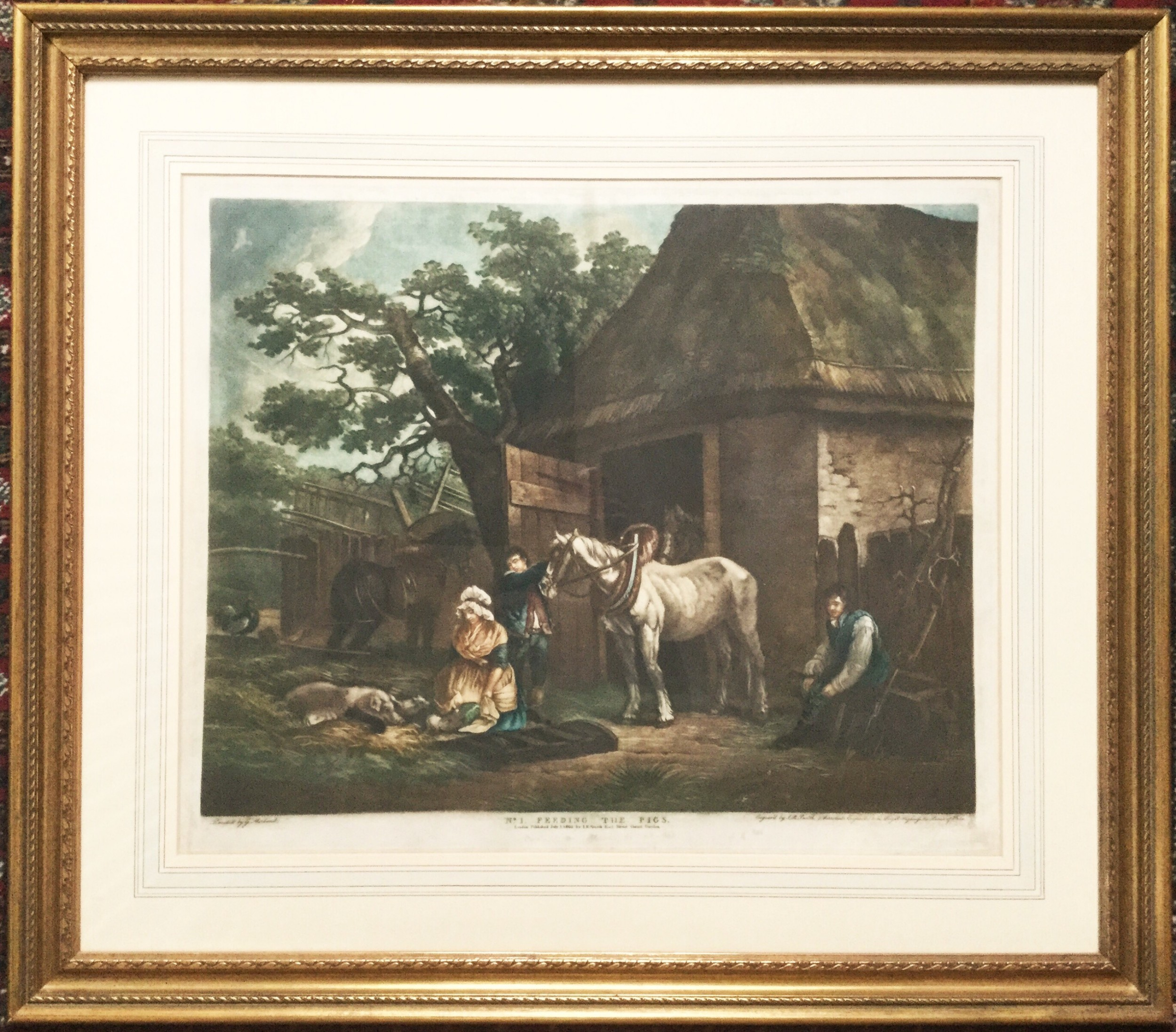 george morland coloured mezzotint feeding the pigs engraved by irsmith