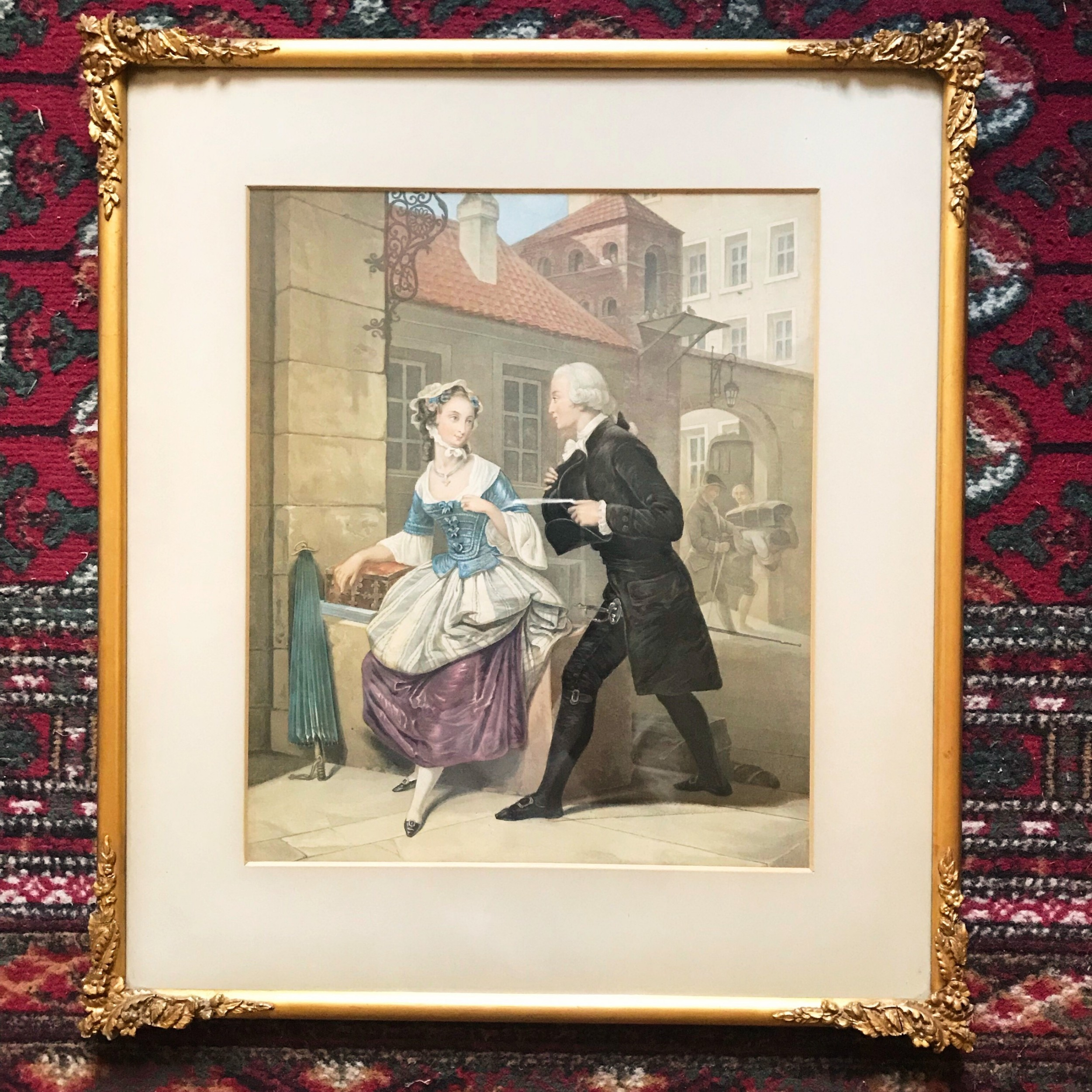 19thc lithograph portrait of gentleman lady in conversation