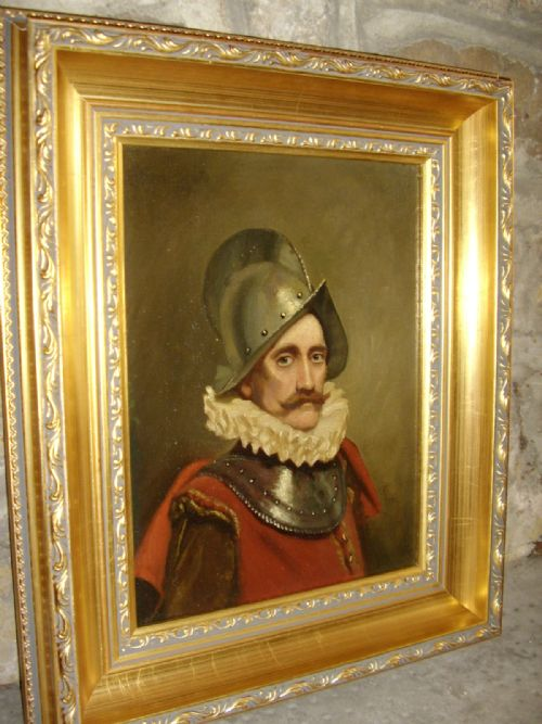 oil portrait painting of a swiss guard soldier in armour wearing 16th century dress 1725 x 145 inches
