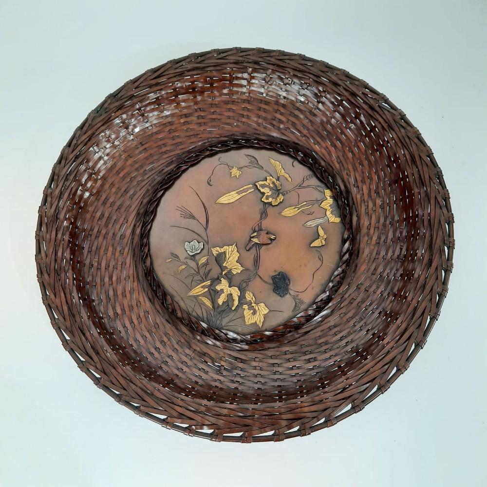 japanese bronze woven plate